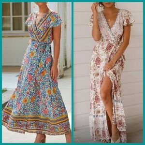 1 avail! Floral print wrap maxi dress- 2 colors